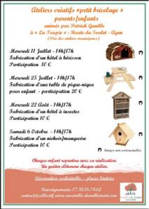 Atelier à partager parents/ enfants : fabrication d'un hôtel à hérisson 11 juillet à Ayen @ La Toupie