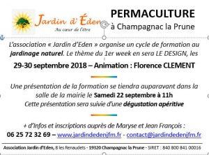 Stage Design en permaculture - 29 et 30 septembre 2018 - Champagnac la Prune @ les Renaudets
