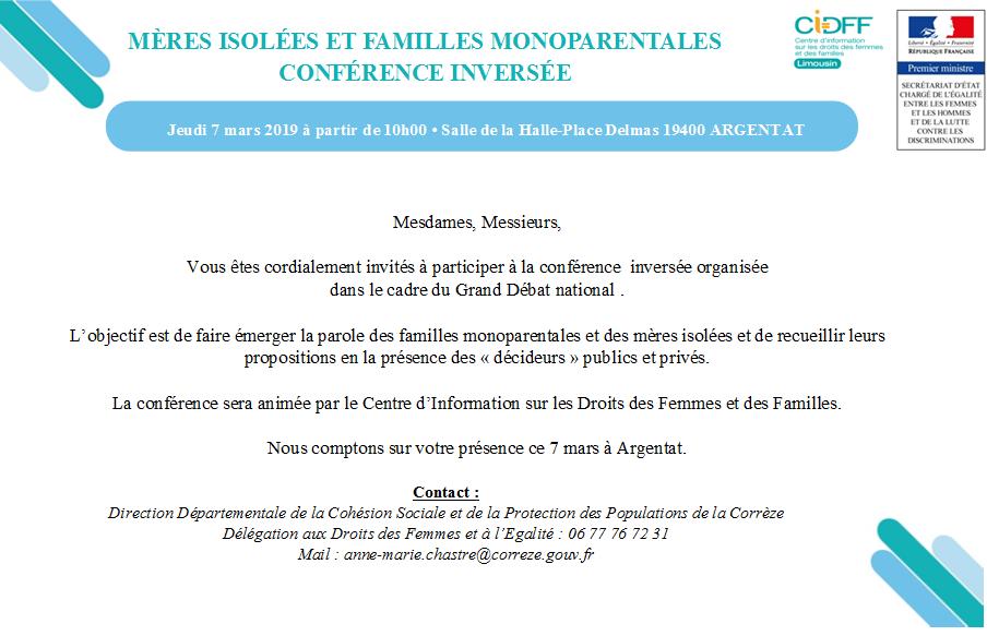 Conférence inversée mères isolées et familles monoparentales à Argentat le 7 mars