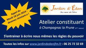 Atelier constituant @ Association Jardin d'Eden