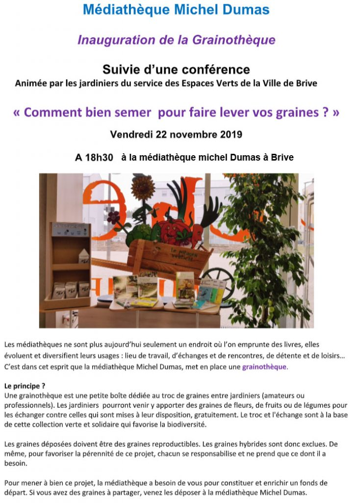 Lancement de la Grainothèque à la médiathèque Michel Dumas suivie d'une conférence d'initiation @ Médiathèque Michel Dumas