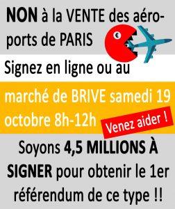 Signer contre la vente des aéroports au marché de BRIVE ce samedi 19-10 @ marché de la guierle