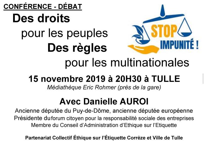 """Conférence """"Des droits pour les peuples, des règles pour les multinationales. STOP IMPUNITÉ ! """" à Tulle"""