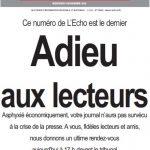 """Fin du journal """"l'Écho du centre"""""""