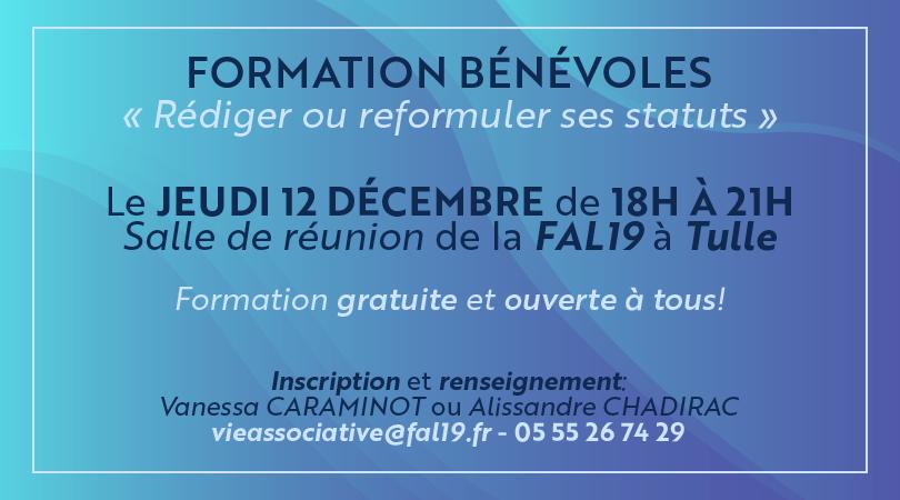 """Formation de bénévoles """"Rédiger ou Reformuler ses Statuts"""" @ Salle de Réunion de la FAL19"""