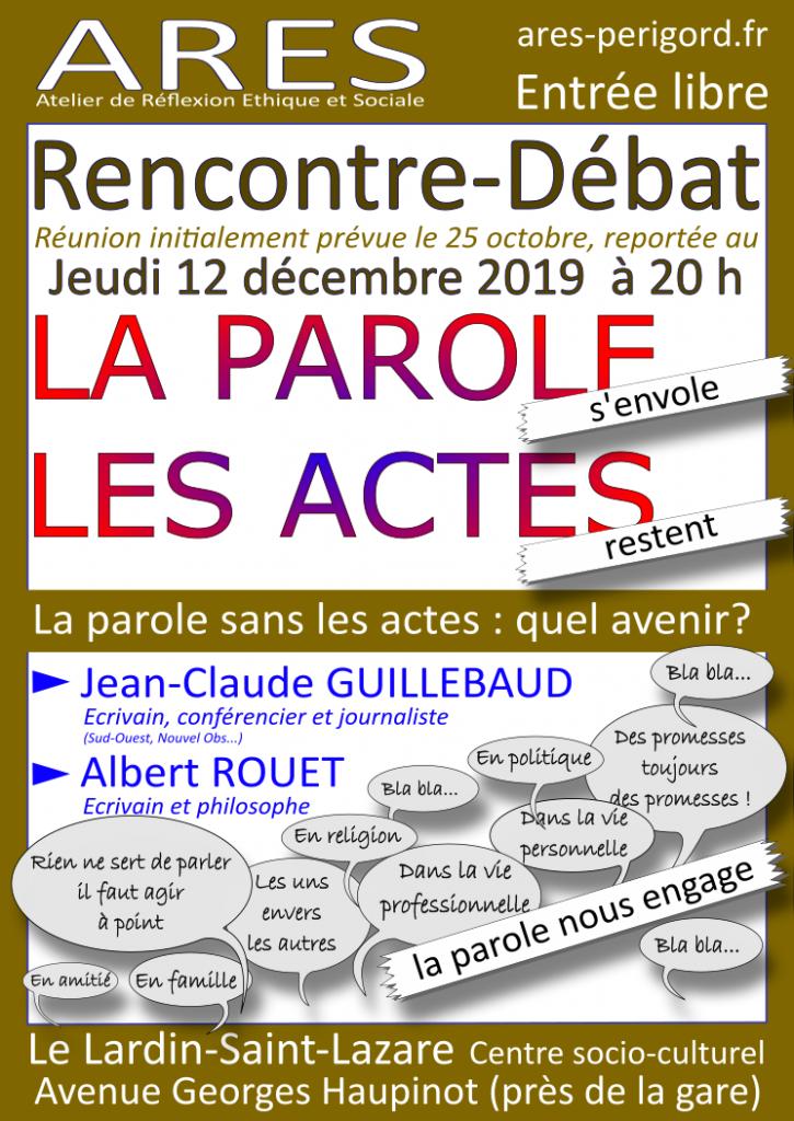 Rencontre-débat : La parole , les actes @ Centre Culturel Le Lardin-Saint-Lazare
