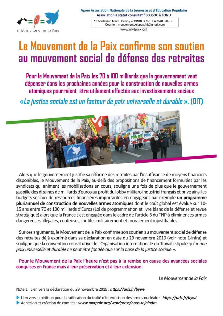 Le Mouvement de la Paix soutien le mouvement social de défense des retraites