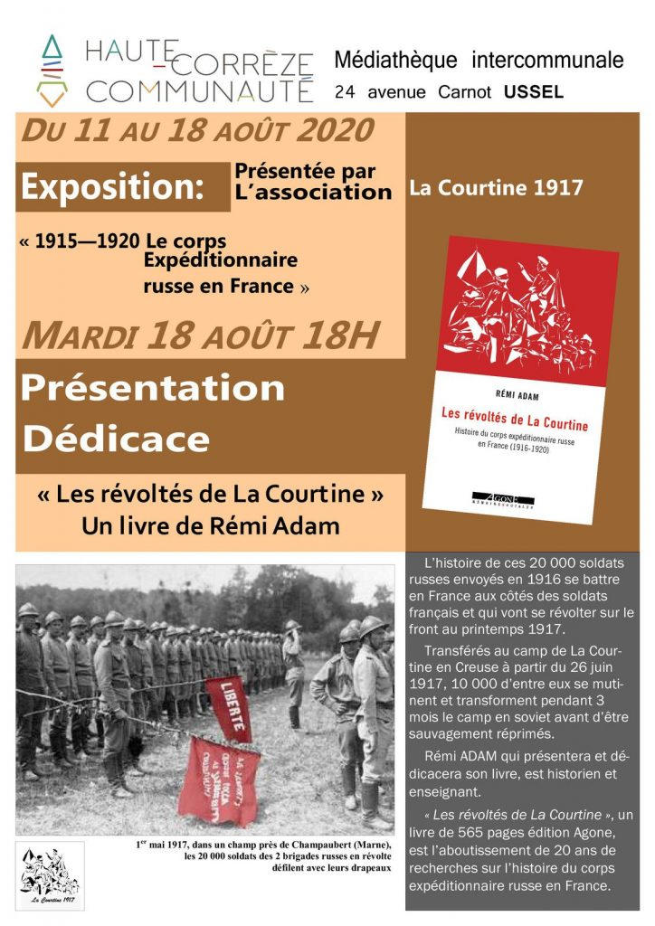 Mutins de la Courtine : Exposition et dédicace de Rémi Adam à la Médiathèque d'Ussel @ Médiathèque intercommunale