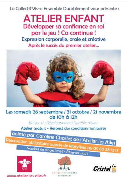 Atelier enfant : développer sa confiance par le jeu @ Maison du développement durable