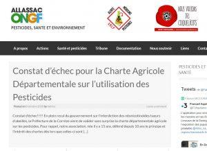 Communiqué des associations : constat d'ECHEC sur distances d'épandage de pesticides