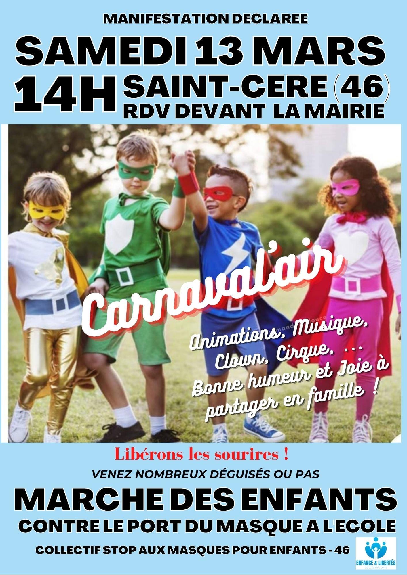 """Défilé """"Carnaval'air"""" contre le port du masque à l'école @ Saint Céré"""