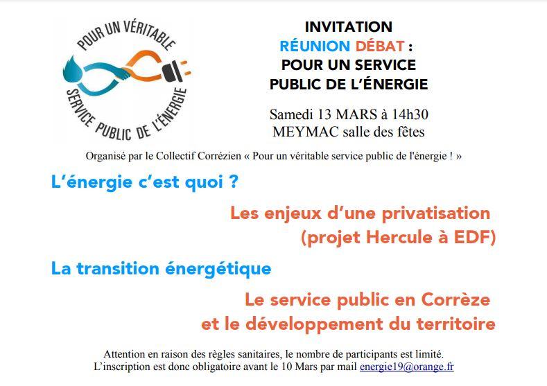 RÉUNION DÉBAT : POUR UN SERVICE PUBLIC DE L'ÉNERGIE @ Salle des fêtes Meymac