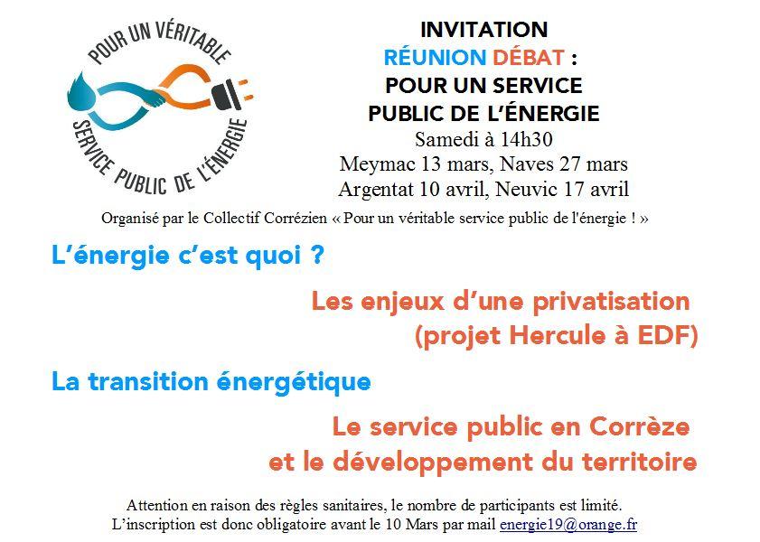 (ANNULÉ) Pour un service public de l'énergie : réunion débat 4 @ Neuvic salle des fêtes