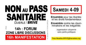 Manifestation Anti-Passe sanitaire - Brive SAMEDI 4 sept 16h (forum dès 14h) @ Place de la GUIERLE