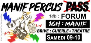 """Manif NON au Pass """"sanitaire"""" - BATUCADA citoyenne !! - Brive SAMEDI 09 OCT @ Place de la GUIERLE"""