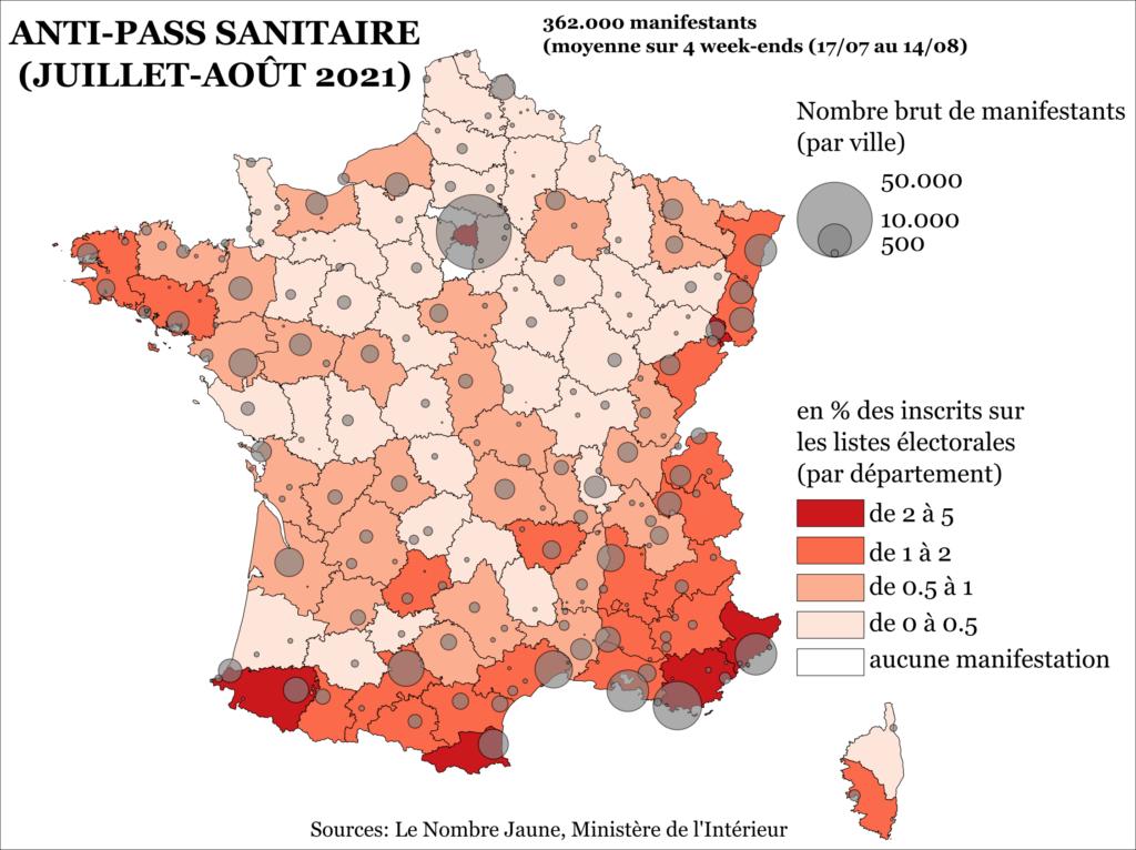 carte nationale des manifestations anti pass sanitaire